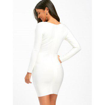 Cut Out Long Sleeve Bandage Dress - S S