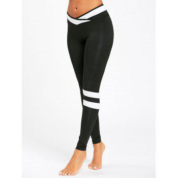 Stripe Contrast Workout Leggings - BLACK BLACK