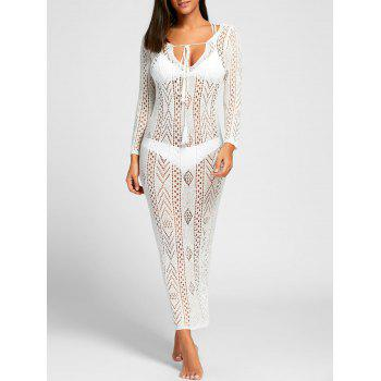 Crochet Boho Cover Up Dress - WHITE M