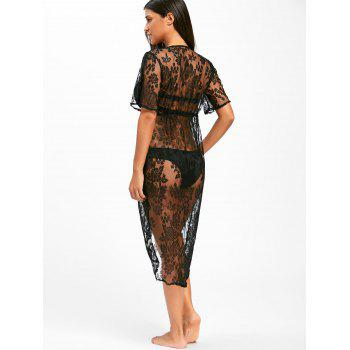 Midi Lace Swimwear Cover Up - BLACK S