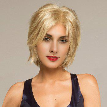 Short Side Parting Shaggy Straight Human Hair Lace Front Wig - GOLDEN BROWN WITH BLONDE GOLDEN BROWN/BLONDE