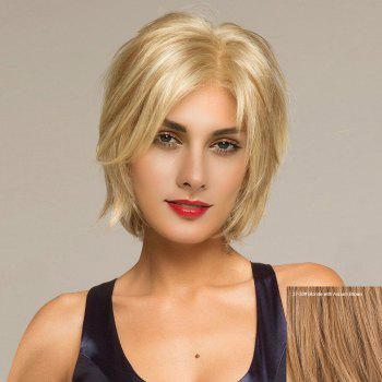 Short Side Parting Shaggy Straight Human Hair Lace Front Wig - BLONDE WITH AUBURN BROWN BLONDE/AUBURN BROWN