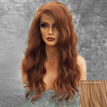 Long Inclined Bang Fluffy Natural Wavy Lace Front Human Hair Wig - BLONDE WITH AUBURN BROWN BLONDE/AUBURN BROWN
