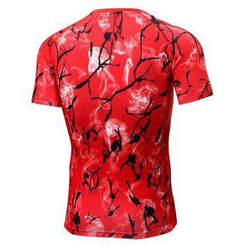 Quick Dry Fitted Tie Dye Print Openwork panel T-shirt - RED XL