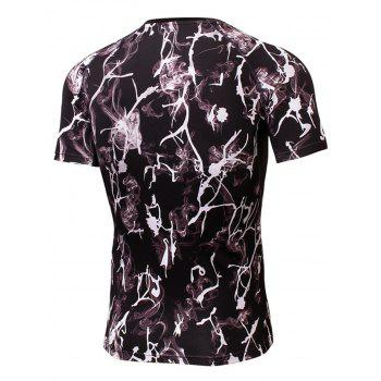 Quick Dry Fitted Tie Dye Print Openwork panel T-shirt - BLACK BLACK