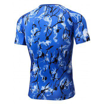 Quick Dry Fitted Tie Dye Print Openwork panel T-shirt - DEEP BLUE L