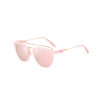 UV Protection Metal Full Frame Crossbar Sunglasses -  PINK