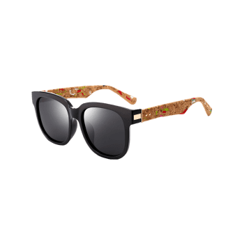 Full Frame Marble Grain Legs Mirror Sunglasses - BLACK