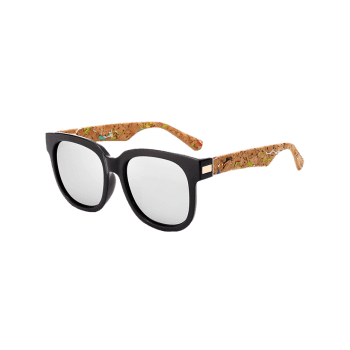 Full Frame Marble Grain Legs Mirror Sunglasses -  SILVER