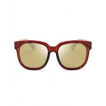 Full Frame Marble Grain Legs Mirror Sunglasses -  TEA COLORED