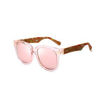 Full Frame Marble Grain Legs Mirror Sunglasses - PINK PINK
