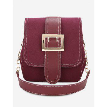 Stitching Buckle Strap Shoulder Bag - PURPLISH RED PURPLISH RED