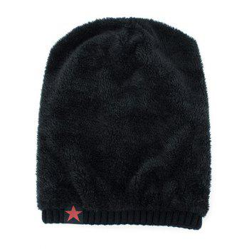 Stripy Thicken Knit Hat with Star Label - BLACK
