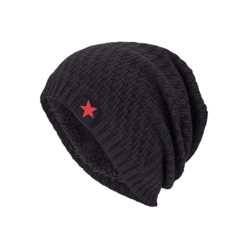 Stripy Thicken Knit Hat with Star Label - DUN