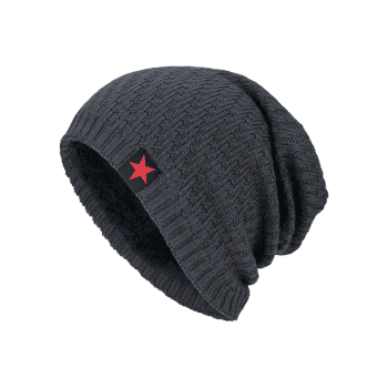 Stripy Thicken Knit Hat with Star Label -  DEEP GRAY