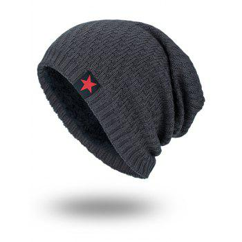 Stripy Thicken Knit Hat with Star Label - DEEP GRAY DEEP GRAY