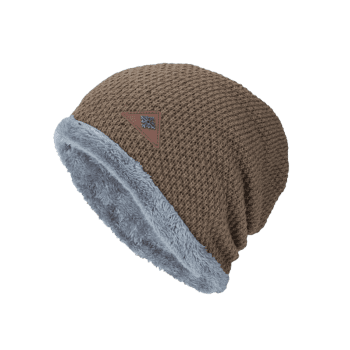 Fluffy Panel Triangle Label Thicken Knit Hat -  KHAKI