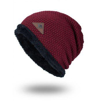 Fluffy Panel Triangle Label Thicken Knit Hat - DARK RED DARK RED