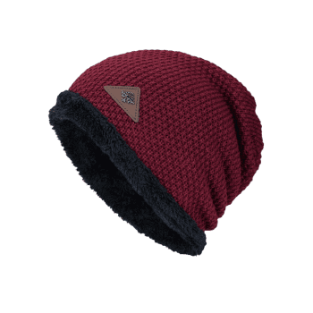 Fluffy Panel Triangle Label Thicken Knit Hat - DARK RED