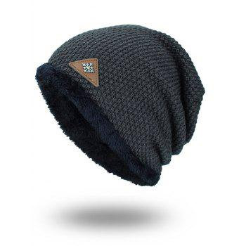Fluffy Panel Triangle Label Thicken Knit Hat - DEEP GRAY DEEP GRAY