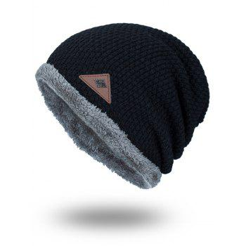 Fluffy Panel Triangle Label Thicken Knit Hat - BLACK BLACK