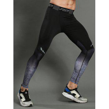Dip Dye Stretch Dots Paint Skinny Athletic Pants - GRAY M