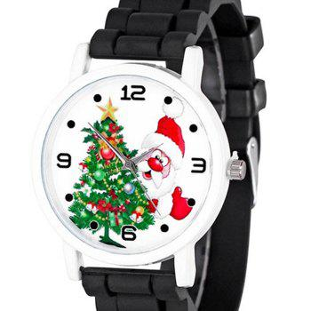 Christmas Tree Santa Face Silicone Watch - BLACK