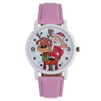 Christmas Deer Santa Face Number Watch - PINK PINK
