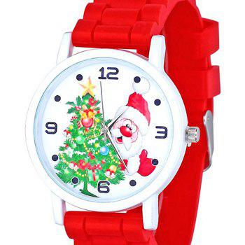 Christmas Tree Santa Face Silicone Watch - RED