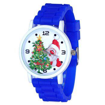 Christmas Tree Santa Face Silicone Watch - BLUE BLUE