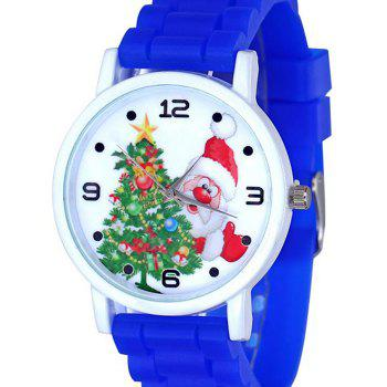 Christmas Tree Santa Face Silicone Watch -  BLUE
