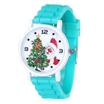 Christmas Tree Santa Face Silicone Watch - LAKE BLUE LAKE BLUE