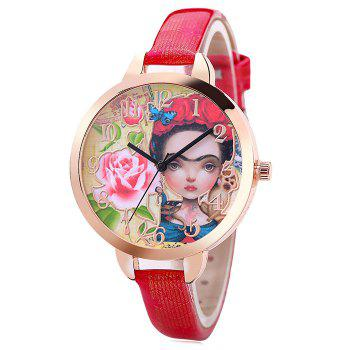 Flower Girl Face Number Watch - RED RED