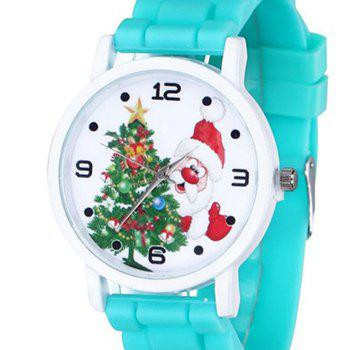 Christmas Tree Santa Face Silicone Watch -  LAKE BLUE
