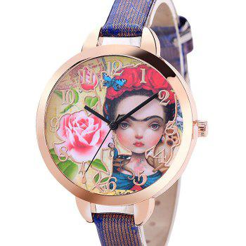 Flower Girl Face Number Watch -  BLUE