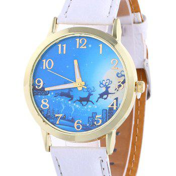 Christmas Deer Sleigh Face Number Watch -  WHITE