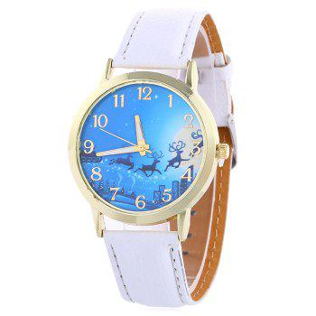 Christmas Deer Sleigh Face Number Watch - WHITE WHITE