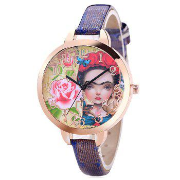 Flower Girl Face Number Watch - BLUE BLUE