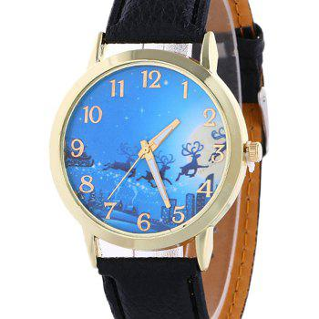 Christmas Deer Sleigh Face Number Watch -  BLACK