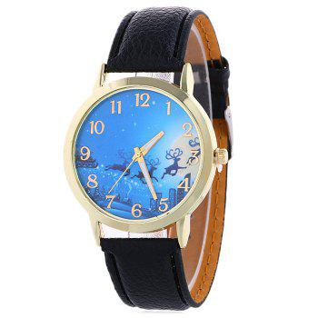 Christmas Deer Sleigh Face Number Watch - BLACK BLACK