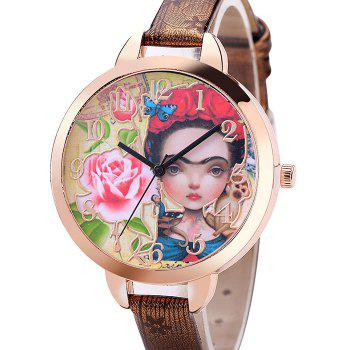 Flower Girl Face Number Watch - BROWN