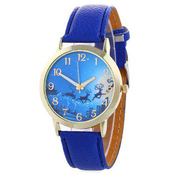 Christmas Deer Sleigh Face Number Watch - BLUE BLUE