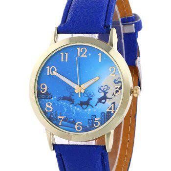 Christmas Deer Sleigh Face Number Watch -  BLUE