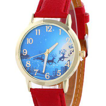 Christmas Deer Sleigh Face Number Watch - RED
