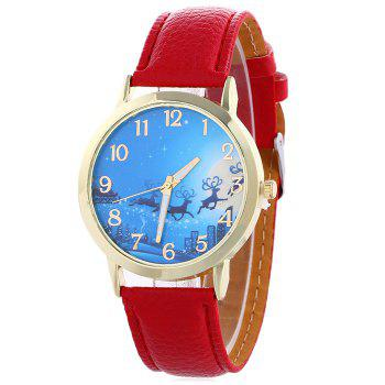 Christmas Deer Sleigh Face Number Watch - RED RED