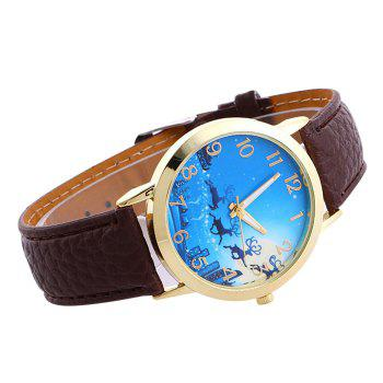 Christmas Deer Sleigh Face Number Watch -  BROWN