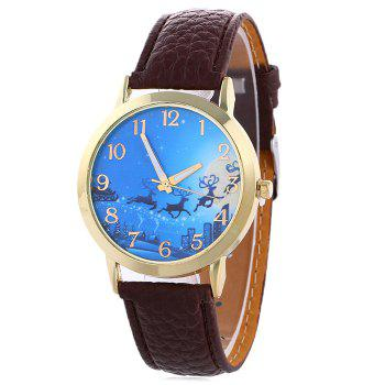 Christmas Deer Sleigh Face Number Watch - BROWN BROWN