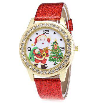 Christmas Santa Tree Face Glitter Watch - RED RED