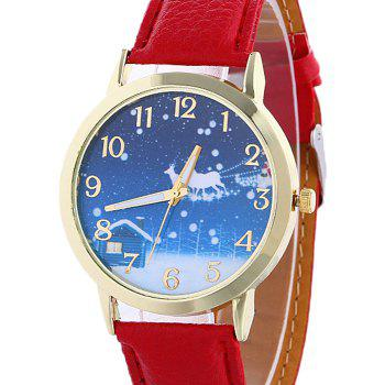 Christmas Night Deer Face Number Watch - RED