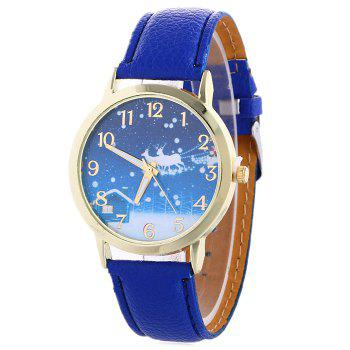 Christmas Night Deer Face Number Watch - BLUE BLUE